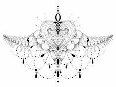 Oooh la la! #Underbreast #Underboob #Sternum #Tattoo #Female #Beads #Ink #Underbust #Heart #Chest