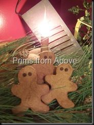 Gingerbread Men Decorations    -1/2 cup shortening    -1/2 cup brown sugar    -3/4 cup dark molasses    -1/2 cup white (Elmer's glue)    -3/4 cup water    -2 tablespoons cinnamon    Mix ingredients together then gradually add 3 cups of flour and mix.  Add 2 more cups of flour and mix well until everything is completely mixed.  I was use a mixer, but with the last cup of flour, had to end up using my hands to really get everything mixed well.    -Cut out into shapes and bake at 275 degre...
