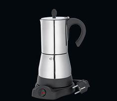 """Cilio Espressokocher """"Lisboa"""" 4 und 6 Tassen elektrisch - Edelstahl poliert, 230V, 480W, CE, kabelloser Zentralkontakt 360°, Warmhaltefunktion, mit Reduziersieb."""