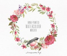 Watercolor wreath: 1 PNG floral clip art / Wedding invitation clip art / commercial use / reddish pink floral and bird / CM0063h by CheesecakeandPi on Etsy https://www.etsy.com/listing/219808111/watercolor-wreath-1-png-floral-clip-art
