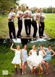 Ask the bridesmaids and the groomsmen, along with the bride and groom, to pose as they think the other group will. So cute!!