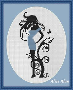 Cross Stitch Pattern-Silhouette girl near tree от HallStitch
