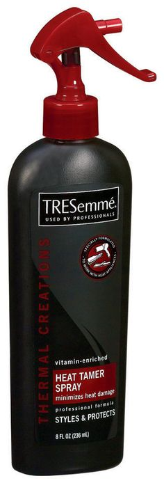 TRESemme thermal creations heat tamer spray; swear by the stuff and been using it forever. It smells great and doesn't leave your hair coarse or sticky after blowout.