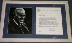 "1966 Roy Wilkins Signed Typed letter on National Association for the Advancement of Colored People letterhead. Letter expresses appreciation for a $500 contribution for a life membership in the NAACP. Frame measures 22""X14"""