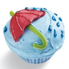Spring Showers Umbrella Cupcake Idea   Spoonful - If April rains have your kids in a gloomy mood, try whipping up a batch of these Spring Showers Cupcakes, sure to brighten even the grayest of afternoons.