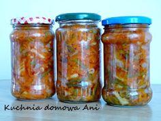 Kuchnia domowa Ani: Fasolka szparagowa z marchewką i cebulą do słoików Preserves, Pickles, Salsa, Mason Jars, Good Food, Food And Drink, Drinks, Cooking, Recipes