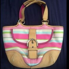 I just discovered this while shopping on Poshmark: Multicolor striped authentic coach purse. Check it out!  Size: OS