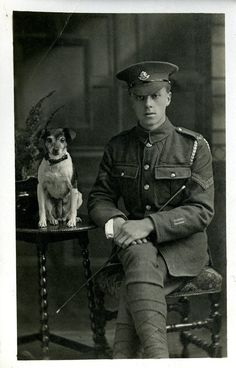 Corporal of the Worcestershire Regiment and canine companion, circa 1917