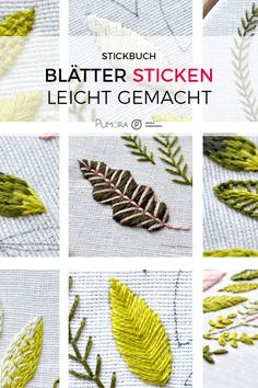Embroidering leaves made easy - embroidery instructions - Pumora- Blätter sticken leicht gemacht – Stickanleitung – Pumora Embroider leaves – embroidery instructions - Hand Embroidery Patterns Free, Embroidery Leaf, Embroidery Flowers Pattern, Simple Embroidery, Free Machine Embroidery, Embroidery Designs, Knitting Machine, Learning To Embroider, Embroidered Leaves