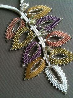 White and Pastel Russian Leaf Necklace.  Seed bead woven by Jeka Lambert.  Seed beads, vintage bugle beads, Czech faceted glass beads.