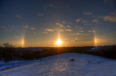 Sunset with Two Sun Dogs (parhelia / parhelion) over the Minnesota Winter Countryside - a nice begining to the new year Sun Dogs, Interesting History, Nordic Style, Beautiful Dogs, Minnesota, Countryside, Sunrise, Nikon D7000, Clouds