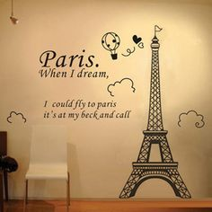 Free shipping wall stickers The Eiffel Tower in Paris wallpaper living room and bedroom background wall decor-inWall Stickers from Home & Ga...