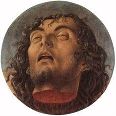Head of St John the Baptist - Giovanni Bellini.  1464-68.  Tempera on panel.  28 cm diameter.  Civic Museum, Pesaro, Italy.