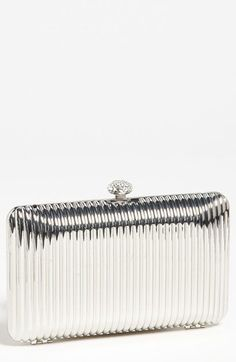 GOLD Glint Linear Ridge Clutch available at Nordstrom Beautiful Handbags, Beautiful Bags, Silver Clutch, Designer Clutch, Green Wedding Shoes, Clutch Purse, Beautiful Necklaces, Purses And Bags, Nordstrom