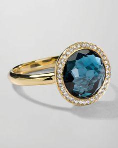 18k Gold Rock Candy Mini Lollipop Ring in London Blue Topaz & Diamond by Ippolita at Neiman Marcus.