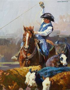 """Xiang Zhang, """"Hold On A Minute"""" 16x20 inches, Oil on Canvas. $6,000 - Southwest Gallery: Not Just Southwest Art."""