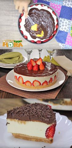 Torta de Morango com Chocolate Cheesecake, Breakfast Dessert, I Foods, Sweet Recipes, Chocolate Cake, Sweet Treats, Deserts, Dessert Recipes, Food And Drink