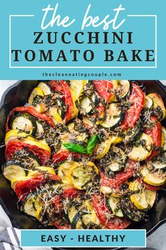 This Healthy Zucchini Tomato Bake recipe is an easy way to use up all your summer vegetables. Fresh, healthy and full of flavor- it's the perfect casserole! I make it with parmesan, but you could leave the cheese off to keep this vegan. This keto, low carb side dish is delish - everyone will love it! #healthy Low Carb Side Dishes, Healthy Side Dishes, Side Dish Recipes, Healthy Vegetable Recipes, Healthy Gluten Free Recipes, Vegetarian Recipes, Zucchini Tomato, Healthy Zucchini, Healthy Foods