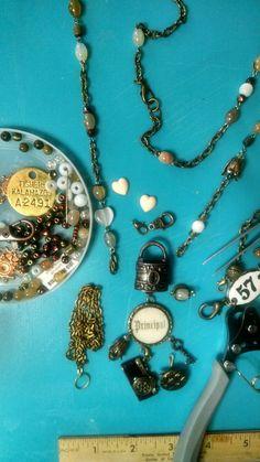 1928 by B'Sue lock pendant, agate, green cats-eye, moonstone,and my favorite tulip beads/caps. #principal #truth #locks #heartstone
