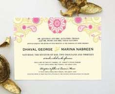 Henna Indian Wedding Invitation Design Inspired by Mehndi Mandala - from The Inked Leaf on Etsy