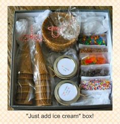 "If your lover is an ice cream lover, send them this ""just add ice cream"" kit and make their day a little more special :)"