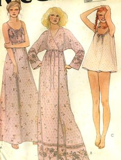 Vintage McCalls 6428 UNCUT Misses Robe Night Gown by RomasMaison