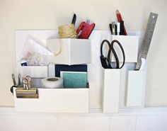 wall organizer using recycled boxes