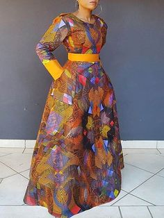 Silhouette: Expansion Dress Length: Floor-Length Sleeve Length: Long Sleeve Neckline: Round Neck Combination Type: Single Closure: Pullover Elasticity: High Elasticity Pattern: Geometric,Color Block Embellishment: Backless,Patchwork,Zipper,Print S. Latest African Fashion Dresses, African Dresses For Women, African Print Dresses, African Print Fashion, African Attire, Round Collar, Long Sleeve, Shoulder Sleeve, Fashion Patterns