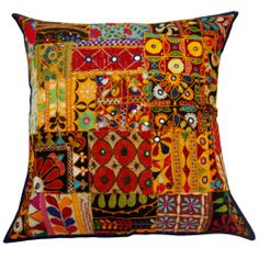 Multicolor Pillow Cover Mirror Work Patchwork Kutch Embroidered Cushion Case  -  Ebay  $17.99