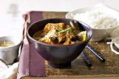 Beef rendang curry with lemongrass rice-An old family favourite given a contemporary boost is easy to whip up and devour. Curry Recipes, Rice Recipes, Indian Food Recipes, Paleo Recipes, Dinner Recipes, Ethnic Recipes, Malaysian Food, Malaysian Recipes, Beef Curry