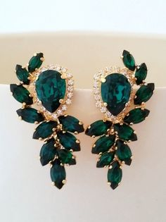 http://rubies.work/0716-ruby-earrings/ Emerald earrings   Emerald bridal earrings by EldorTinaJewelry   http://etsy.me/1I03VGz