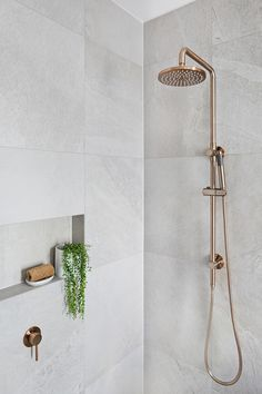 Meir's Round Champagne Shower Rail Set is the latest design to hit Australia. With the Shower head, this champagne shower set will amaze. Bathroom Renos, Laundry In Bathroom, Bathroom Renovations, Bathroom Ideas, Bathroom Cabinets, Plants In Bathroom, Bathroom Niche, Shower Niche, Shower Tiles