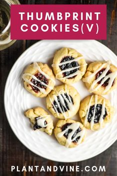 Delicious and buttery vegan thumbprint cookie recipe, perfect for the holidays or year-round! Easy shortbread cookies filled with jam and covered in a delicious almond glaze. Pair with a glass of wine to elevate your next cookie party! Check out Plant & Vegan Breakfast Recipes, Vegan Snacks, Vegan Recipes Easy, Wine Recipes, Vegan Meals, Vegan Food, Cookie Recipes, Snack Recipes, Dessert Recipes