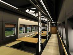 Yamagata Shinkansen (bullet train) in #Japan with tatami mat interiors. #design