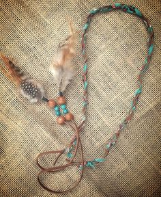 Turquiose and brown faux suede hippie boho tribal headband with feathers and beads