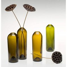 Green Wine Bottles Recycled Unique Functional Art Designed b ...