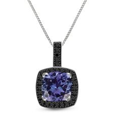 "Platinum Plated 2.35ct Simulated Tanzanite & Black Spinel Round Necklace 18"" #Affinityjewelry #Halo"