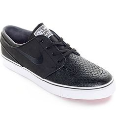 Bring some premium style into your day to day with these all new Nike SB Zoom Stefan Janoski leather skate shoes. A premium black genuine leather upper features a unique crocodile print toe for a wild look plus a Nike SB Zoom Air insole with heel pockets