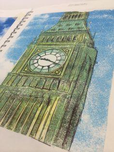 Kirsty Whitehead - Book 3 'Ben Is Watching' Theme: British Heritage Inspiration: Big Ben Technique: Acetone Printing And Biro Pen Sketching