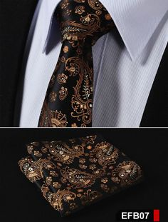 NeckTie - Orange Brown Paisley 100%Silk Slim Necktie & Handkerchief Pocket Square Suit Set