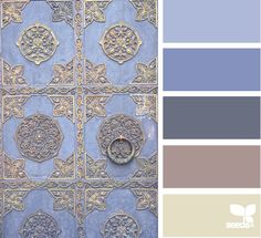 Door tones: lovely range of blues, plus cream, plus... grayish-violet? These colors are marvelous on that door!