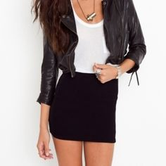 Black Bodycon Skirt Perfect for a night out. So comfortable and cute! **first photo shows a very similar style, but not actual item for sale** H&M Skirts