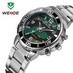 Find More Casual Watches Information about WEIDE Military Watches Men Full steel Watch Sports Diver Quartz Wristwatch Multi function LED Display Relogio Masculino,High Quality display bracelet,China display touchscreen Suppliers, Cheap display frame from Headphone Mart on Aliexpress.com