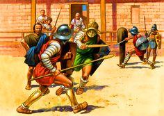 Gladiator -- 'training school/yard (Thyatis)    [d5c5ab826baa41387d91519f056f2d6e.jpg (1413×1000)]