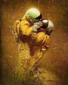 Space Artwork, Wallpaper Space, Gustav Klimt, Astronaut Wallpaper, Sci Fi Art, Surreal Art, Cosmos, Dark Art, Lovers Art
