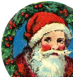 Free Christmas Images for Cards –  Santa – Holly