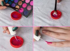 DIY Matte, mix eye shadows with clear nail polish to create a matte nail polish. And 14 other cute nail art ideas!!