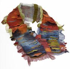 Hand felted,Nuno silk Scaf - Brigitte Haldemann Artist