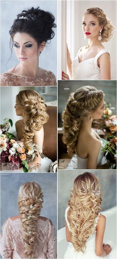 long curly wedding hairstyles- braided bridal updos / http://www.deerpearlflowers.com/new-wedding-hairstyles-to-try/