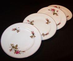 SET of 4: Moss Rose Dessert Plates - Made in Japan